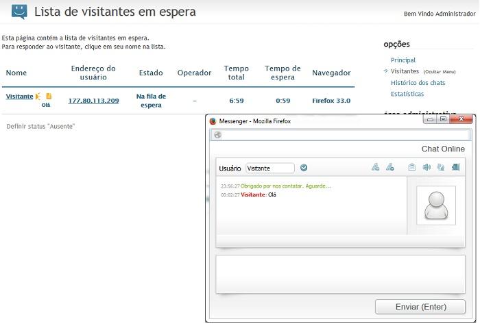 Chat para loja virtual
