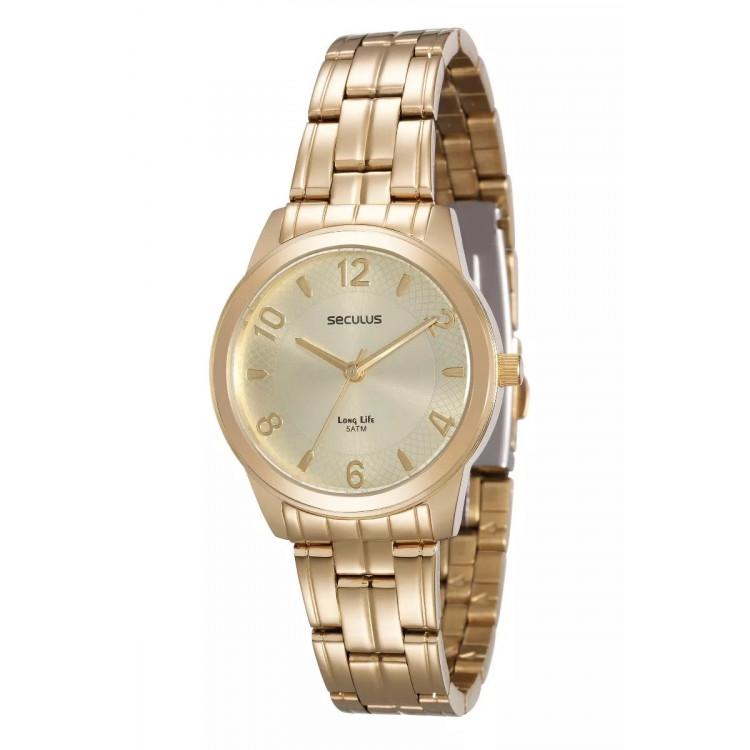 Relógio Seculus Feminino Dourado - 20425lpsvda1 -  frete grátis