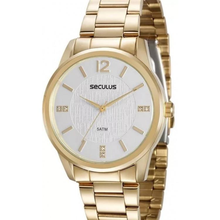 Relógio Seculus Feminino Dourado - 20513lpsvds1 -  frete grátis
