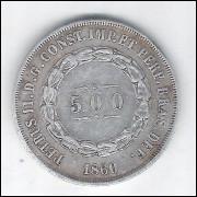 1860 - 500 Réis, prata, mbc, Brasil-Império, Dom Pedro II.