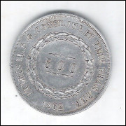 1862 - 500 Réis, prata, mbc, Brasil-Império, Dom Pedro II.