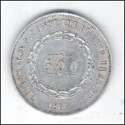 1866 - 500 Réis, prata, mbc, Brasil-Império, Dom Pedro II.