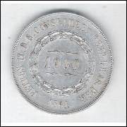 1861 - 1000 Réis, prata, mbc/s, Brasil-Império, Dom Pedro II.