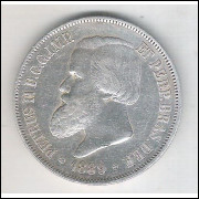 1889 - 2000 Réis, prata, mbc+, Brasil-Império, Dom Pedro II.
