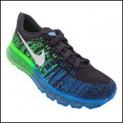 Tênis Nike Flyknit Air Max Preto, Verde e Azul