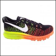 Tênis Nike Flyknit Air Max Preto e Verde e Laranja MOD 11594