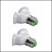 Soquete Adaptador Duplo para Bocal E-27 2 Unidades