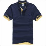 Camisa Polo Sport Plus - Azul Marinho C/ Detalhe Amarelo