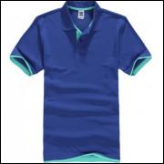 Camisa Polo Sport Plus - Azul C/ Detalhe Verde