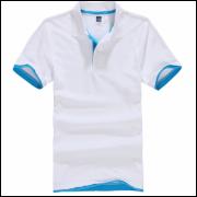 Camisa Polo Sport Plus - Branca C/ Detalhe Azul