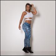 calça legging fitness fake jeans