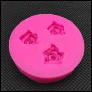 Moldes De Silicone Rosa Flores 3 Cavidades Frete Grátis