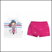 Conjunto Infantil 2 peças Feminino Elian Branco/Pink