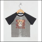 Camiseta Infantil Menino Cachorrinho Cinza