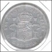 Espanha, 5 Pesetas 1877. Prata .900 - 25 g - 37 mm. soberba