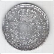 1819 R - 960 Réis (Patacão), Brasil - Reino Unido, Dom João VI, prata.