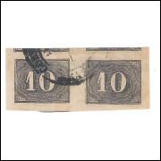 I-11 Brasil Império, 1850, 10 Réis, Olho de Cabra, PAR com Bela cor e Excelentes margens.