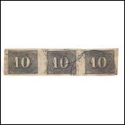 I-11 Brasil Império, 1850, 10 Réis, Olho de Cabra, TRINCA com Bela Cor.