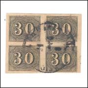 I-13 Brasil Império, 1850, 30 Réis, Olho de Cabra, QUADRA com BOAS MARGENS.