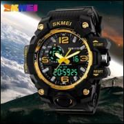 6de55ec15e5 Relógio Masculino Skmei 1155 detalhe dourado Original Esportivo Prova D Água