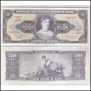 C115 - 5 Centavos, 1966, Cédula Provisória, 50 Cruzeiros com carimbo, MINSTRO em vez de ministro, fe