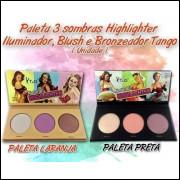 Paleta 3 Cores  Highlighter Iluminador, Blush E Bronzeador
