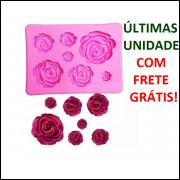 Molde Silicone Rosas 3d 7 Cavids 8.3x 6x 1.1cm FRETE GRÁTIS