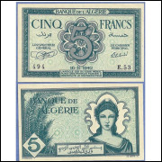 Algeria P-91 5 Francs from WWII 1942 UNC