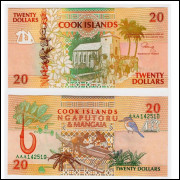 Cook Islands P-9 20 Dollars 1992 UNC