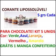 Kit Com 5 Unidades Corante Lipossolúvel Gran Chef P Chocolate
