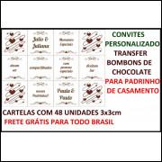 Convites Personalizado Transfer Bombons Chocolate Frete Grátis