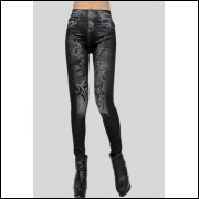 Legging Que Imitam Jeans - Preta - Frete Grátis