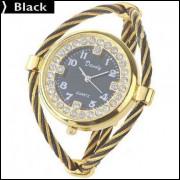 Relógio Quartzo Decorado Com Strass - Preto
