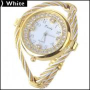 Relógio Quartzo Decorado Com Strass - Branco