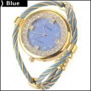 Relógio Quartzo Decorado Com Strass - Azul