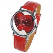Relógio Quartzo Elegante Pulseira Imita Couro