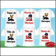 Kit familia com 6 Camisetas cat noir ladybug