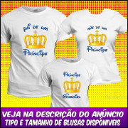 KIT 3 CAMISETAS COROA PRINCESA