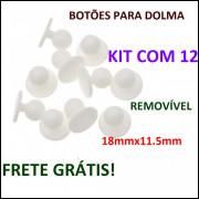 Kit com 12 Botões branco Para Dolma 18mmx11.5mm Frete Grátis