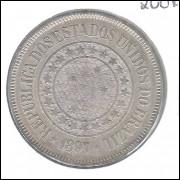 1897 - Brasil, 200 Réis, cuproníquel, mbc/s.