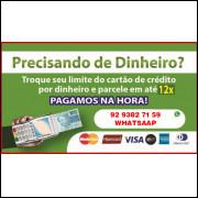 EMPRESTIMO PESSOAL CARTÃO DE CREDITO (1200,00 VALOR LIBERADO 1.000,00 REAIS)
