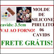MOLDE SILICONE PIRULITO ESPIRAL LISO FURO COM 3.5cm FRETE GRÁTIS