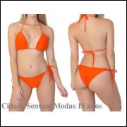 Biquíni Cortininha Levanta Bumbum Bojo Verão Moda Praia 2019 laranja