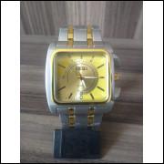 Relógio Masculino Luxo Importado Relógio Top com pulseira de aço e caixa quadrada