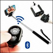 Bastão Monopod Disparador Fotos Bluetooth + Suporte Celular