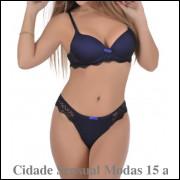 5096- Conjunto Lingerie Feminino Calcinha E Soutien Bojo Sensual em renda com tule