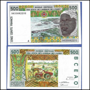 West African States P-110A 500 Francs 1996 UNC (Ivory Coast—Costa do Marfim)