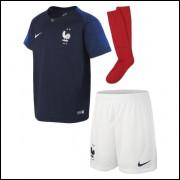 Camisa França Infantil Com Meião 18 19 1 - Frete Grátis 8b3ec6165d044