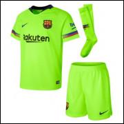 Camisa Barcelona Infantil Com Meião 2 18/19 - Frete Grátis