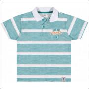 Camisa Polo Infantil Elian Listras Verde
